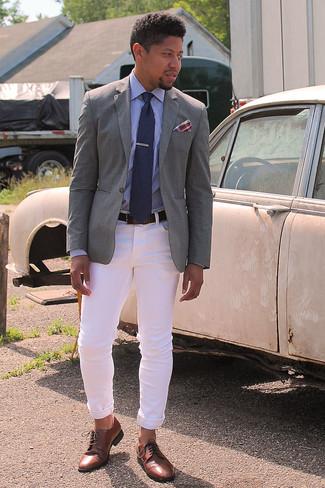 Contrast Trim Blazer Grey
