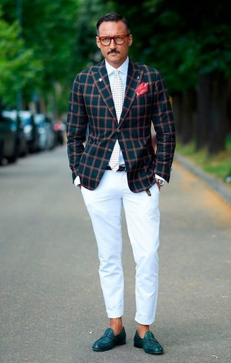 How to wear: teal leather loafers, white chinos, white dress shirt, teal check blazer
