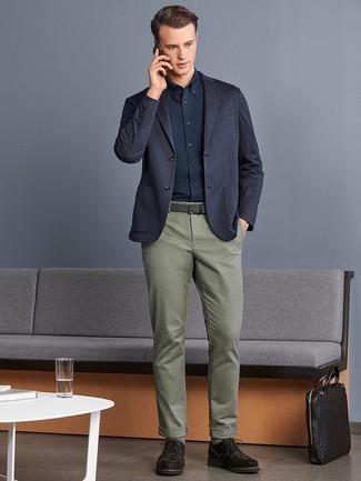 How to wear: dark brown suede derby shoes, olive chinos, navy dress shirt, navy knit blazer