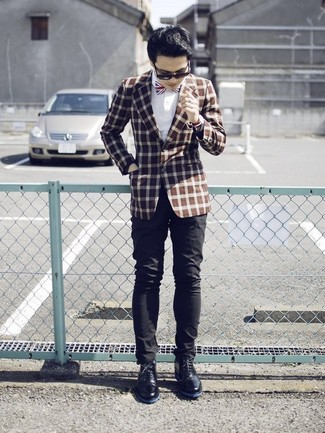 How to wear: black leather desert boots, black chinos, white dress shirt, brown check blazer