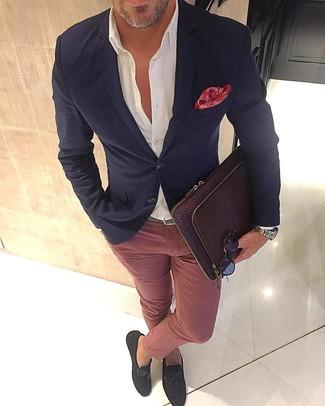 How to wear: dark brown suede tassel loafers, pink chinos, white dress shirt, black blazer