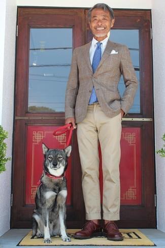 How to wear: dark brown leather derby shoes, beige chinos, light blue dress shirt, brown check blazer
