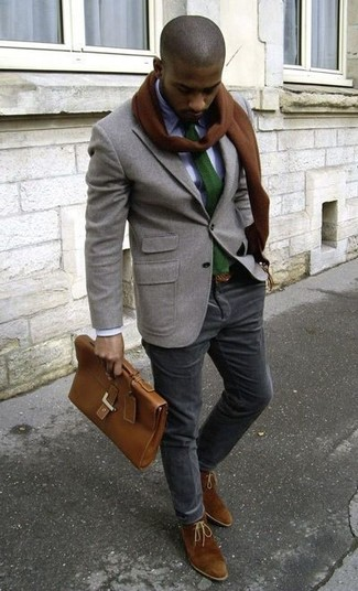 How to wear: brown suede desert boots, black corduroy chinos, white dress shirt, grey wool blazer