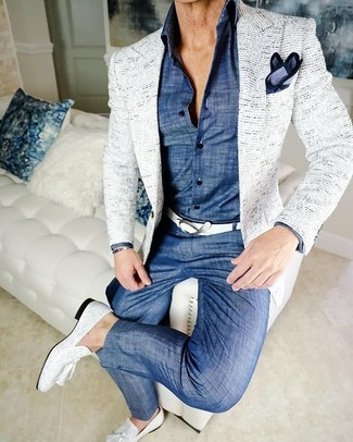 How to wear: white leather tassel loafers, blue chambray chinos, blue chambray dress shirt, white tweed blazer