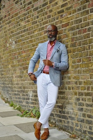How to wear: tobacco suede tassel loafers, white chinos, white and red gingham dress shirt, grey blazer