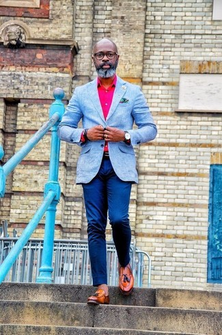 How to wear: tobacco leather tassel loafers, blue chinos, hot pink dress shirt, light blue blazer