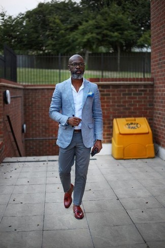 How to wear: red leather tassel loafers, grey chinos, white dress shirt, light blue blazer