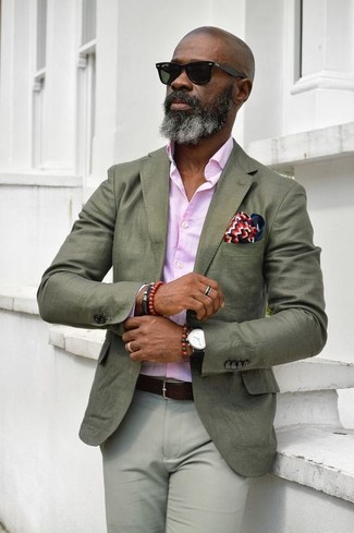 How to wear: white and red and navy pocket square, grey chinos, pink dress shirt, olive blazer