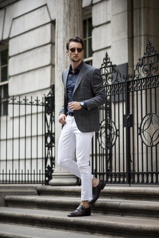How to wear: black leather double monks, white chinos, navy dress shirt, charcoal check blazer