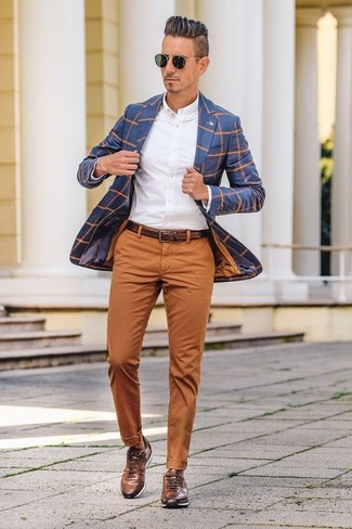 How to wear: brown leather low top sneakers, tobacco chinos, white dress shirt, blue check blazer