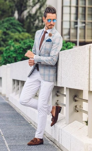 How to wear: dark brown suede tassel loafers, white chinos, white dress shirt, light blue plaid blazer
