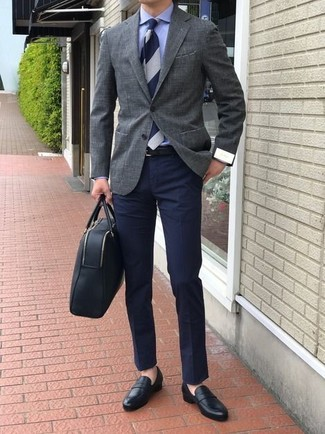 How to wear: black leather loafers, navy chinos, blue dress shirt, grey blazer