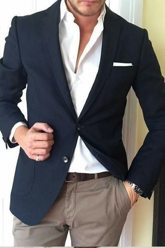 How to wear: white pocket square, brown chinos, white dress shirt, black blazer