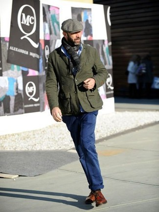 How to Wear a Grey Flat Cap For Men: An olive wool blazer and a grey flat cap are great menswear essentials that will integrate nicely within your daily styling rotation. Complete this ensemble with a pair of tobacco leather derby shoes to instantly step up the wow factor of this look.