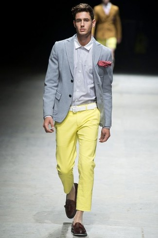 How to wear: dark brown leather tassel loafers, yellow chinos, white dress shirt, grey blazer