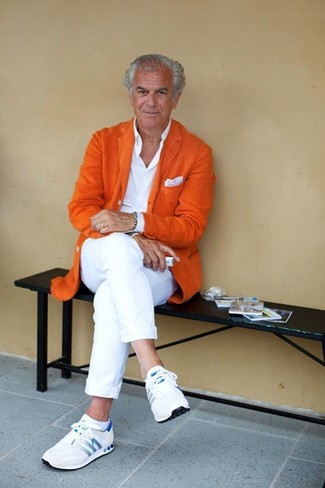 How to wear: white athletic shoes, white chinos, white dress shirt, orange wool blazer