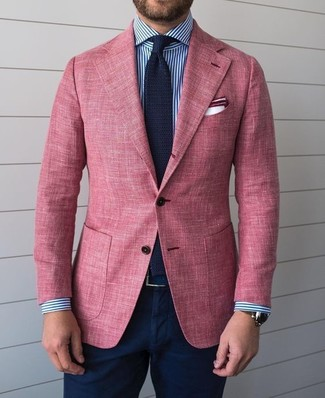 How to wear: navy knit tie, navy chinos, white and navy vertical striped dress shirt, pink blazer