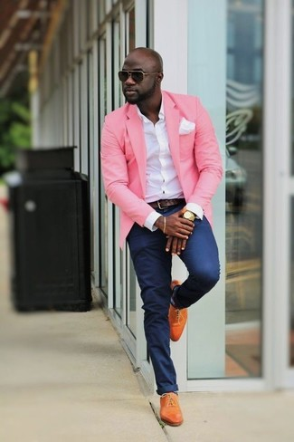 How to wear: orange leather oxford shoes, navy chinos, white dress shirt, pink blazer