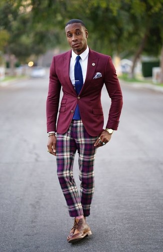 How to wear: brown leather brogue boots, purple plaid chinos, white dress shirt, burgundy blazer