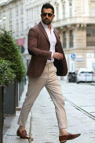 How to wear: brown leather tassel loafers, beige chinos, white dress shirt, dark brown check blazer