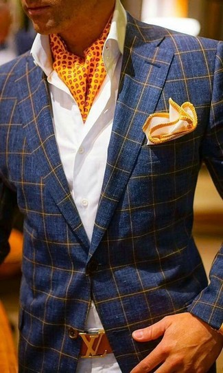 How to wear: orange pocket square, beige chinos, white dress shirt, navy check blazer