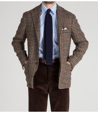 How to wear: navy knit tie, dark brown corduroy chinos, white and blue vertical striped dress shirt, brown check wool blazer