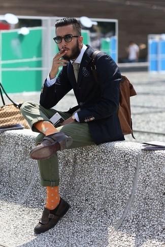How to wear: dark brown leather tassel loafers, olive chinos, white dress shirt, navy blazer