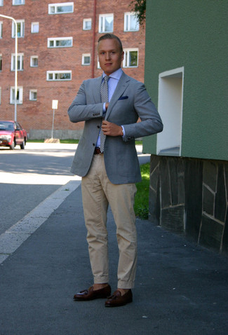 How to wear: dark brown leather tassel loafers, beige chinos, light blue dress shirt, light blue blazer