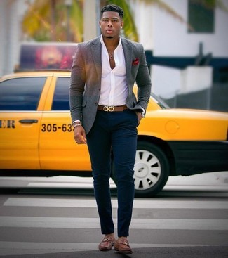 How to wear: brown leather loafers, navy chinos, white dress shirt, grey wool blazer