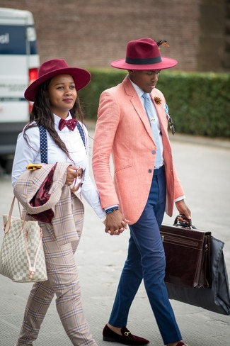 How to wear: burgundy velvet loafers, navy chinos, white dress shirt, pink linen blazer