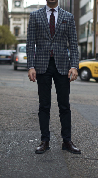 How to Wear a Burgundy Floral Pocket Square: A navy plaid wool blazer and a burgundy floral pocket square are must-have menswear items to have in the off-duty part of your wardrobe. Finishing with a pair of dark brown leather derby shoes is an easy way to give an extra touch of style to this look.
