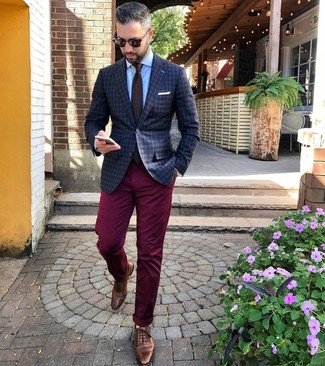 How to wear: brown leather brogues, burgundy chinos, light blue dress shirt, charcoal check blazer