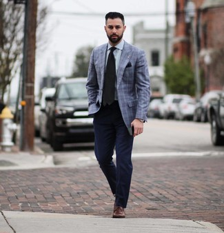 How to wear: brown leather oxford shoes, navy chinos, light blue dress shirt, blue plaid blazer