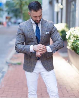 How to wear: teal polka dot tie, white chinos, white dress shirt, grey plaid blazer