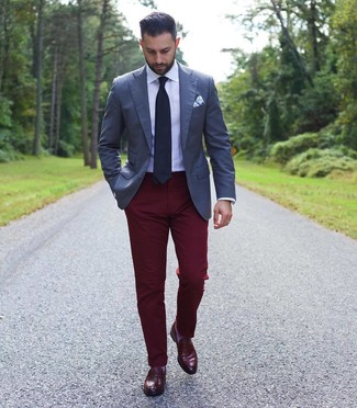 How to wear: burgundy leather loafers, burgundy chinos, white dress shirt, navy blazer