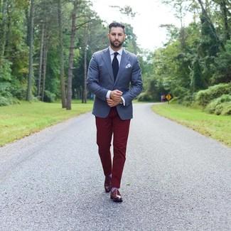 How to wear: burgundy leather loafers, burgundy chinos, white dress shirt, navy blazer