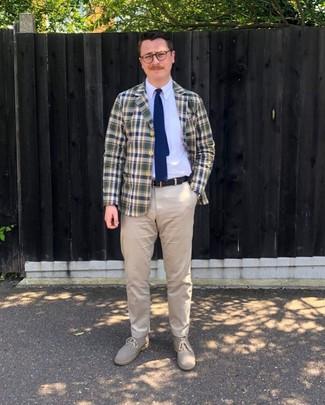 How to wear: beige suede desert boots, beige chinos, white dress shirt, navy and green plaid blazer