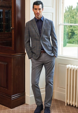 How to Wear a Grey Check Wool Blazer For Men: Teaming a grey check wool blazer and grey chinos is a fail-safe way to infuse your wardrobe with some manly refinement. Let your outfit coordination sensibilities really shine by finishing with a pair of navy suede desert boots.