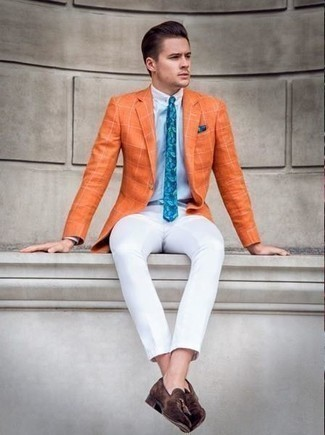 How to Wear a Teal Print Pocket Square: An orange check blazer and a teal print pocket square worn together are a good match. Why not add a pair of dark brown suede tassel loafers to the mix for an extra dose of style?