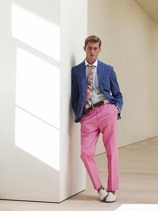 How to wear: white leather loafers, pink chinos, blue dress shirt, blue blazer