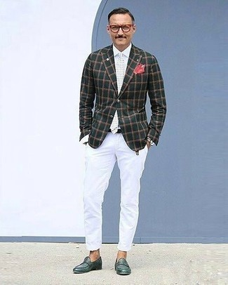How to Wear Dark Green Leather Loafers For Men: Such items as a dark green check blazer and white chinos are the ideal way to inject a sense of manly sophistication into your day-to-day collection. You know how to inject a touch of elegance into this outfit: dark green leather loafers.