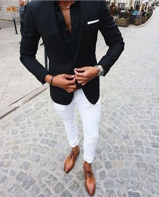 How to Wear a Black Dress Shirt For Men: Reach for a black dress shirt and white chinos for a neat classy menswear style. In the footwear department, go for something on the dressier end of the spectrum and complete your getup with a pair of tobacco leather derby shoes.