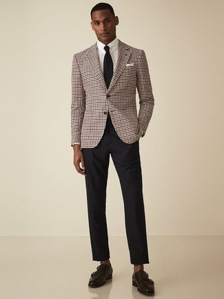 How to Wear Dark Brown Leather Double Monks: This combo of a burgundy houndstooth blazer and black chinos is a real lifesaver when you need to look effortlessly sleek in a flash. Class up your look with dark brown leather double monks.