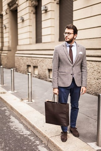 How to Wear Dark Brown Suede Double Monks: When the dress code calls for an effortlessly polished menswear style, you can easily go for a brown check wool blazer and navy chinos. A pair of dark brown suede double monks immediately spruces up the ensemble.