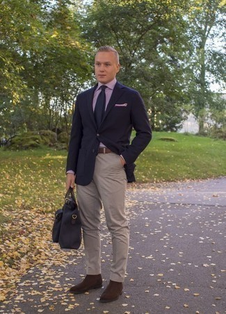 How to Wear Dark Brown Suede Chelsea Boots For Men: As you can see here, looking stylish doesn't take that much effort. Just dress in a navy blazer and beige chinos and be sure you'll look awesome. Add a pair of dark brown suede chelsea boots to instantly switch up the outfit.