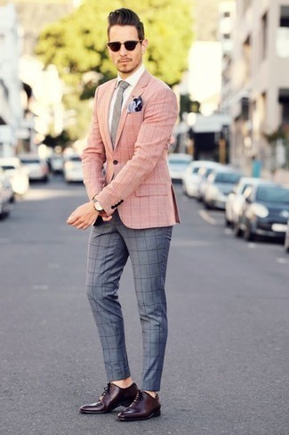 How to Wear Burgundy Sunglasses For Men: A pink check blazer and burgundy sunglasses are both versatile menswear essentials that will integrate really well within your casual arsenal. Complete your getup with burgundy leather oxford shoes to instantly switch up the ensemble.