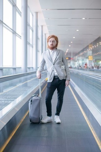 How to Wear White Athletic Shoes For Men: A grey blazer and navy chinos are absolute mainstays if you're figuring out a classy wardrobe that matches up to the highest fashion standards. White athletic shoes are an effective way to give an element of stylish casualness to your outfit.