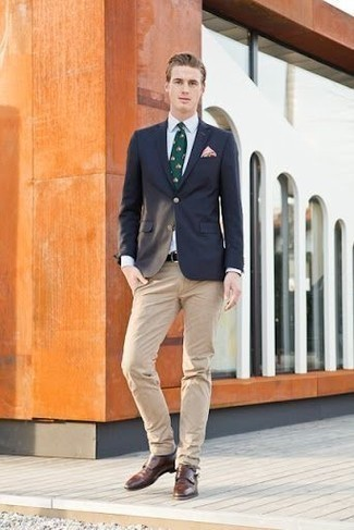 How to Wear Khaki Chinos: Nail the casually smart outfit in a navy blazer and khaki chinos. Brown leather double monks are an easy way to give a dose of refinement to your ensemble.