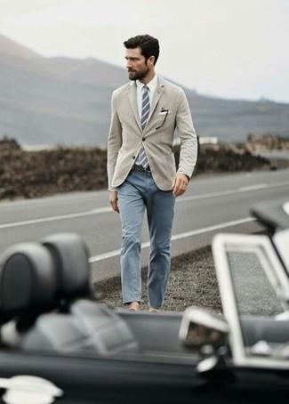 How to wear: grey vertical striped tie, grey chinos, white dress shirt, tan blazer
