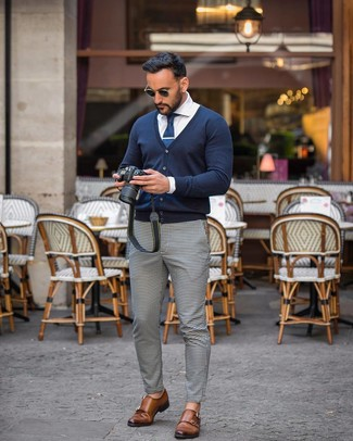 How to wear: brown leather double monks, white and black gingham chinos, white dress shirt, navy cardigan